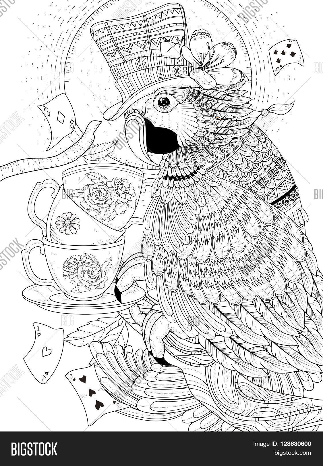 coloring page lovely magician parrot with tea cups stock