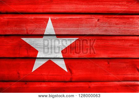 Flag Of Maastricht, Painted On Old Wood Plank Background