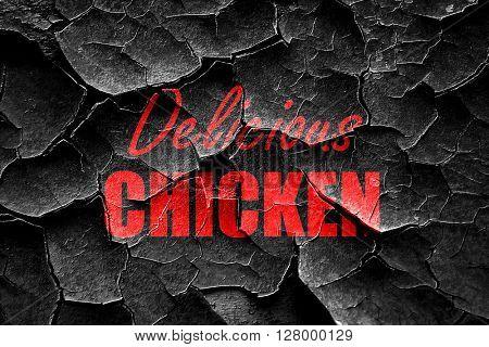 Grunge cracked Delicious chicken sign