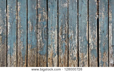 Blue chipping paint on old barn wood