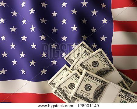 Dollar banknote bundles on textile textured American flag.