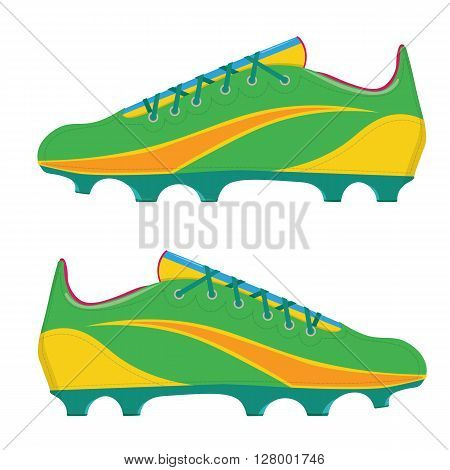 Vector illustration a football boots. Soccer boots isolated on white background