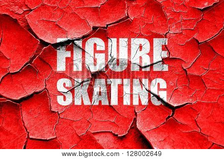Grunge cracked figure skating sign background