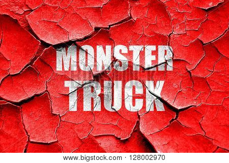 Grunge cracked monster truck sign background