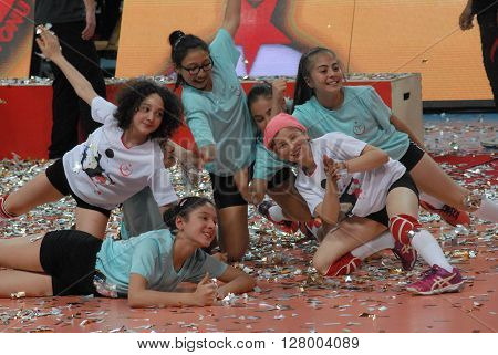 ANKARA/TURKEY-April 30, 2016: Ball boys/girls at the Baskent Volleyball court during the Volleyball Women 1st Laegue of Turkey Final Four matches . April 30, 2016-Ankara/Turkey