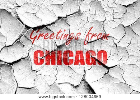 Grunge cracked Greetings from chicago
