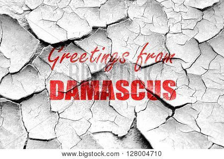 Grunge cracked Greetings from damascus