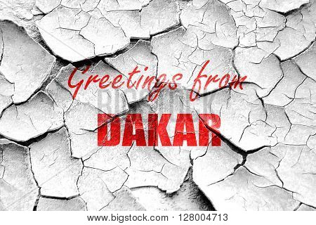 Grunge cracked Greetings from dakar