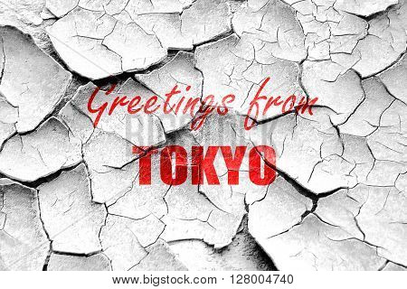 Grunge cracked Greetings from tokyo