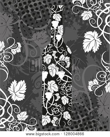 Silhouette of wine bottle and with grapevines.