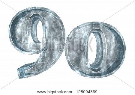 frozen number ninety on white background - 3d illustration