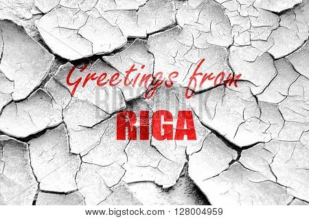 Grunge cracked Greetings from riga