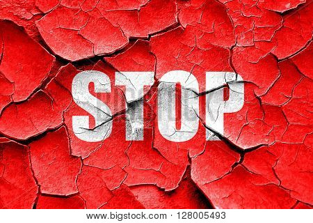 Grunge cracked stop sign background