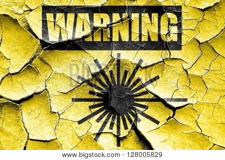 Grunge cracked Laser warning sign