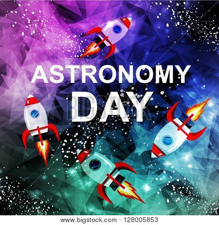 May 14 Day of Astronomy. Vector illustration in flat style about outer space. Planets in the, rocket in space. Greeting card