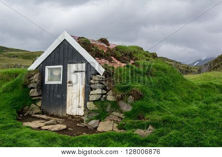 Very small turf house in Iceland Europe