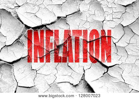 Grunge cracked Inflation sign background
