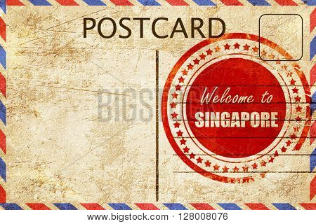 Vintage postcard Welcome to singapore