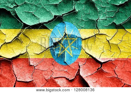Grunge Ethiopia flag with some cracks and vintage look