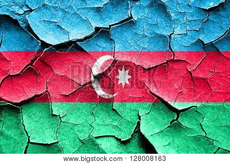 Grunge Azerbaijan flag with some cracks and vintage look