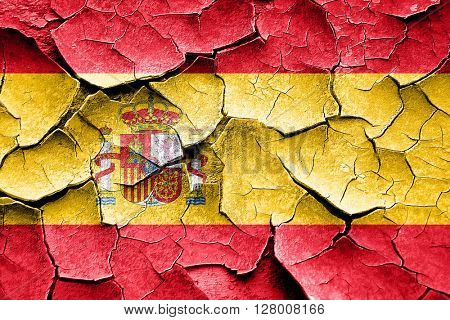 Grunge Spanish flag with some cracks and vintage look
