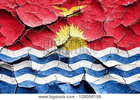 Grunge Kiribati flag with some cracks and vintage look