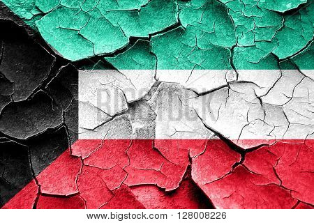 Grunge Kuwait flag with some cracks and vintage look