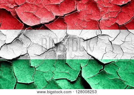 Grunge Hungary flag with some cracks and vintage look