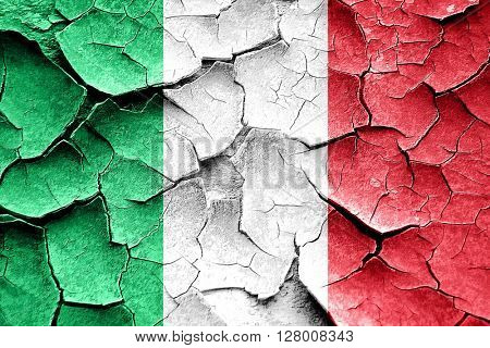 Grunge Italy flag with some cracks and vintage look