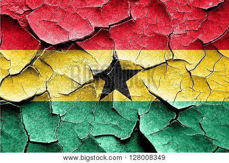 Grunge Ghana flag with some cracks and vintage look