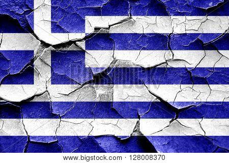Grunge Greece flag with some cracks and vintage look