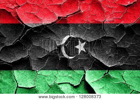 Grunge Libya flag with some cracks and vintage look