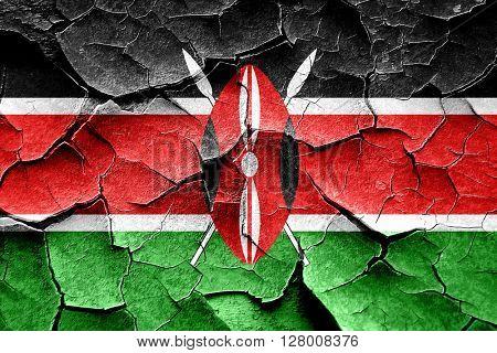 Grunge Kenya flag with some cracks and vintage look