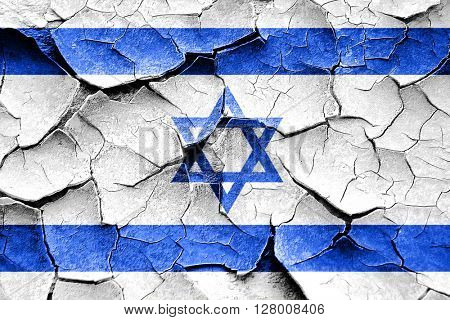 Grunge israel flag with some cracks and vintage look