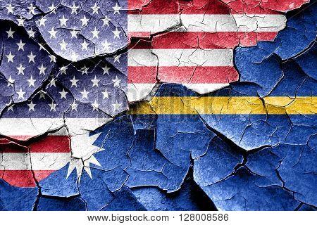 Grunge Nauru flag with american flag combination