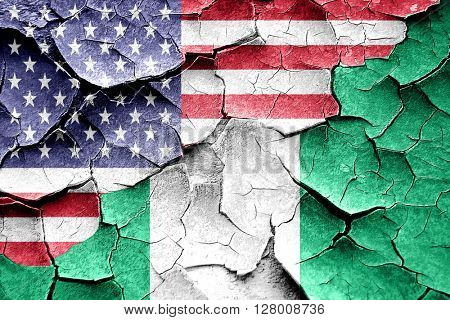Grunge Nigeria flag with american flag combination