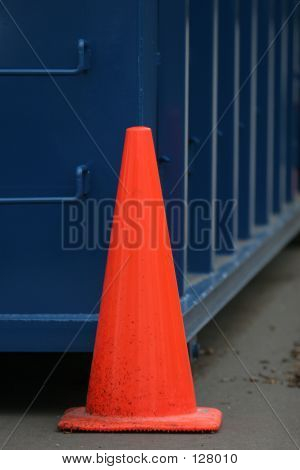 Orange Cone On Blue