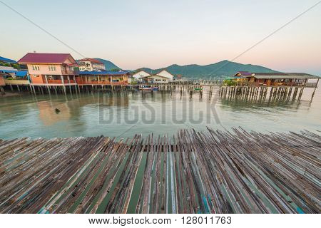 Bamboo Floor With Fishing Village To The Sea