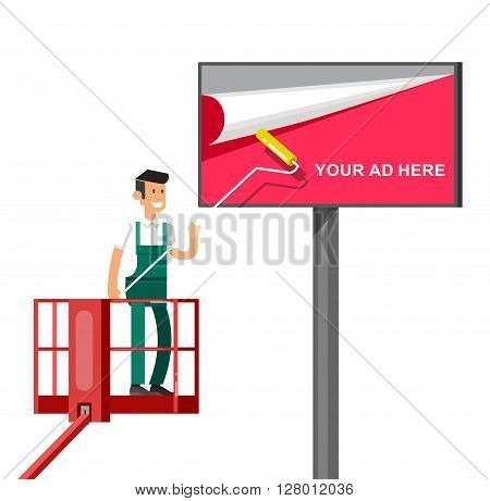 Blank billboard for new advertisement with Vector detailed character men worker on lift isolated on white background.