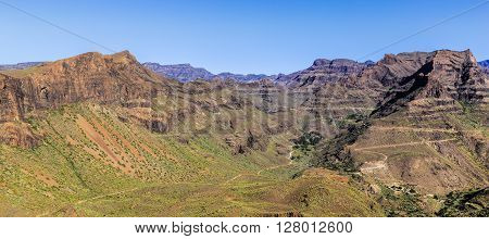 Amazing View On Barranco de Guayadeque During Sunny Day - Gran Canaria Canary Island Spain Europe