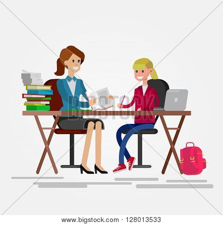 Woman teacher tutor tutoring girl kid at home. Mother helping daughter with homework. Flat style vector illustration isolated on white background.
