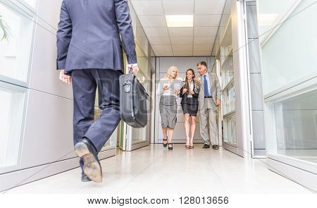 Business people walking in the office corridor - Coffee break in a business office people having pause and talking