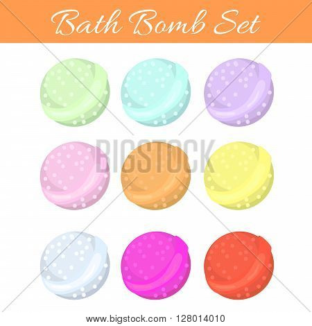 Set of bath bubble bombs. Bath aroma vector bombs for relaxation.