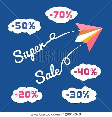 Paper planes. Super sales advertisement. Origami flying paper airplanes. Sale poster, discount promotion banner. Special offer for big sales season. Marketing campaign. Vector illustration