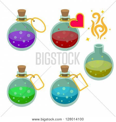 Magic potion bottles with tags. Set of game asset potions with different liquids.