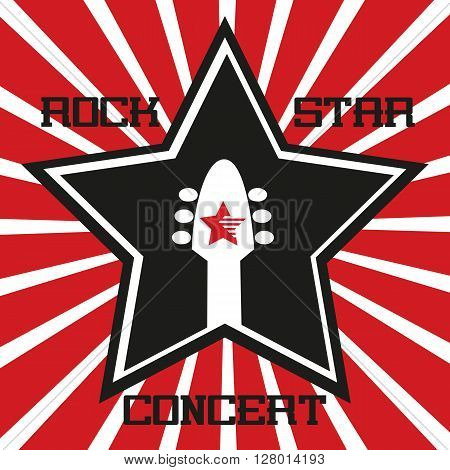 Music Festival Concept. Rock music poster background. Star, guitar silhouette symbol. Music Festival, show, rock star concert, rock band promotion,  advertisement. Vector illustration.