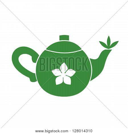 Teapot. Jasmine Green tea room logo. Organic hot drink label design. Green tea leaves isolated. Jasmine flower. Herbal Tea room emblem isolated concept. Vector illustration