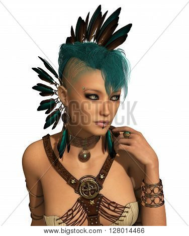3d computer graphics of a young woman with a Steampunk outfit feather jewelry and a Mohawk hairstyle