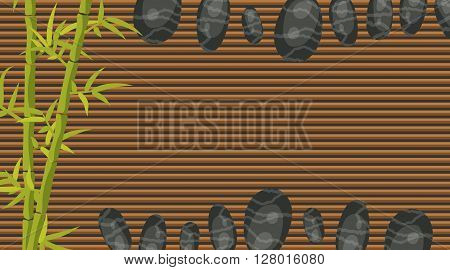 Spa salon horizontal banner template. Bamboo and pebble rocks on makisu woven mat background.