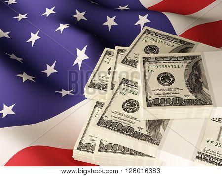 Dollar banknote bundles on textile textured USA flag. 3d rendering.